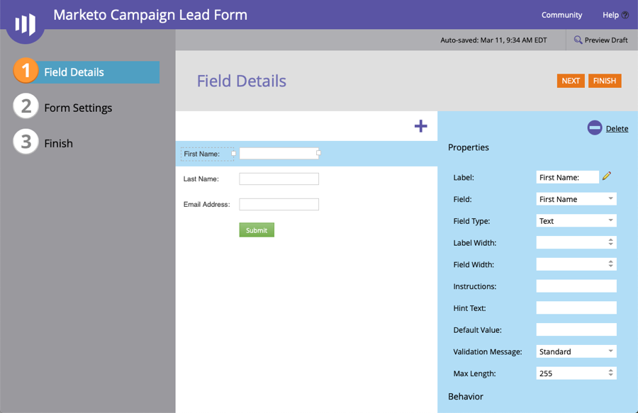 marketo field details